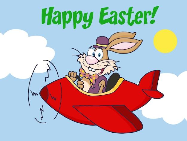 Feliz páscoa saudação de coelho voar com avião