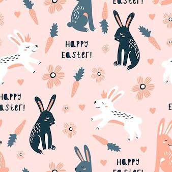 Feliz páscoa sem costura padrão com coelhos