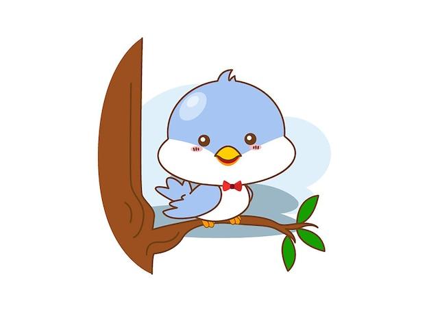 Feliz pássaro azul sobre um fundo branco