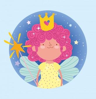 Feliz pequena fada princesa conto dos desenhos animados varinha mágica e coroa