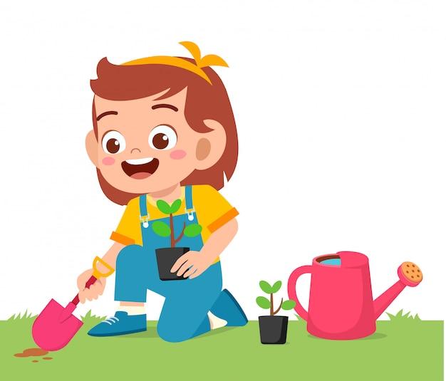 Feliz, pequeno, criança, menina, planta, árvore, em, jardim
