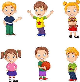 Feliz, pequeno, crianças, cobrança, jogo