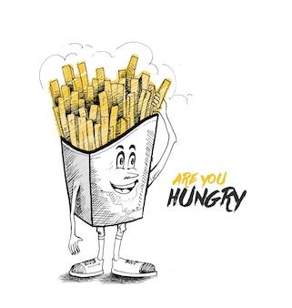 Feliz personagem de desenho animado de batatas fritas para anúncio monocromático de fast food