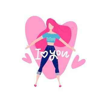 Feliz personagem feminina no sétimo céu. subindo no fundo do grande coração. mulher apaixonada. cartão de felicitações no tema do dia dos namorados.
