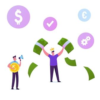 Feliz personagem masculino usando uma coroa de ouro na cabeça demonstra dinheiro, segurando enormes notas de dólar nas mãos.