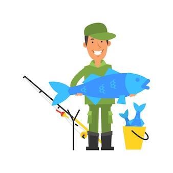 Feliz pescador segurando peixes grandes e sorrindo. personagens de vetor. ilustração vetorial