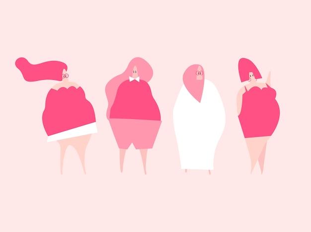 Feliz plus size mulheres vector