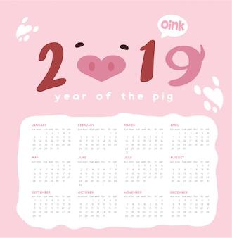 Feliz porco ano novo 2019 vector calendário