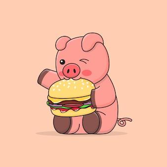 Feliz porquinho fofo comendo hambúrguer