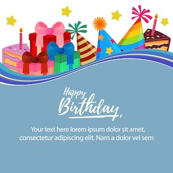 Feliz, presente, caixa, aniversário, balloon, modelo