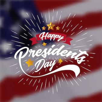 Feliz, presidents, dia, bandeira, fundo, e, cartão cumprimento