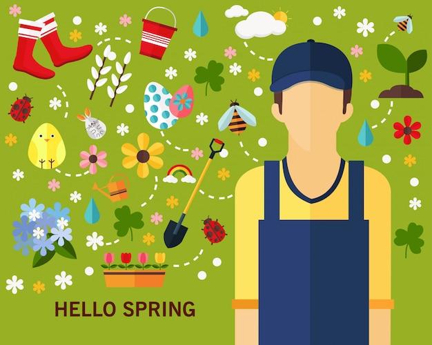 Feliz, primavera, conceito, fundo