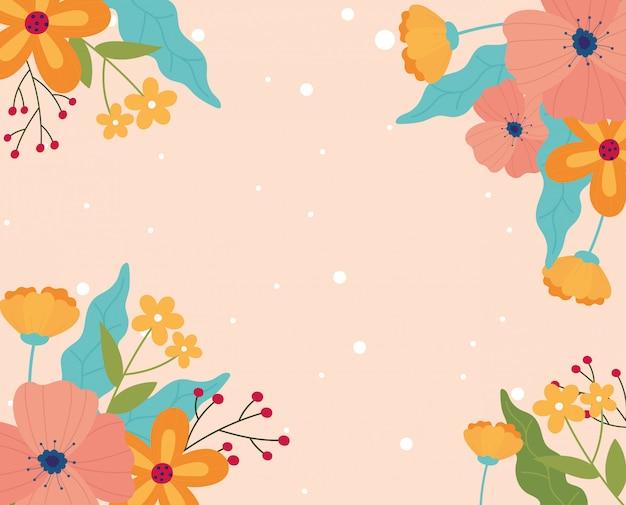 Feliz primavera flores decoração fronteira pontilhada de fundo