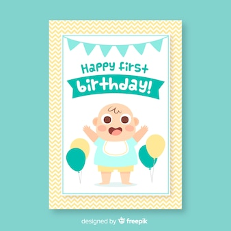 Feliz primeiro cartão de convite de aniversário