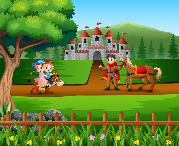 Feliz, príncipe, com, crianças, montando, um, seu, cavalo, estrada