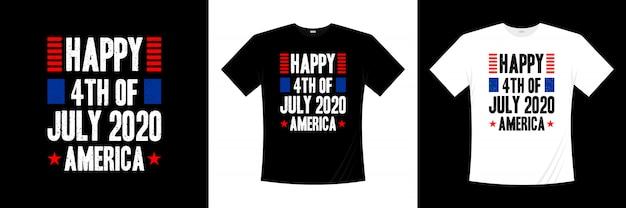 Feliz quatro de julho américa tipografia design de t-shirt