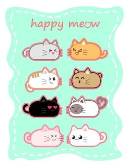 Feliz querida rodada design de personagens de desenhos animados de gato