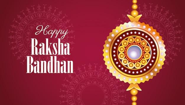 Feliz raksha bandhan celebração com decoração de flores douradas