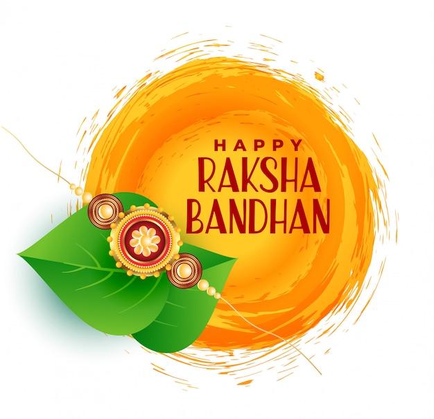 Feliz, raksha, bandhan, saudação, desenho, com, folhas