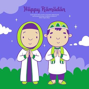 Feliz ramadã com o lindo desenho animado muçulmano de menino e menina