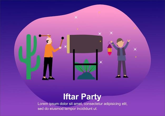 Feliz ramadã mubarak saudação com as pessoas de caráter