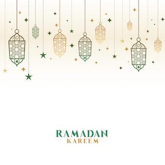 Feliz ramadan kareem decorativo lâmpadas islâmicas fundo