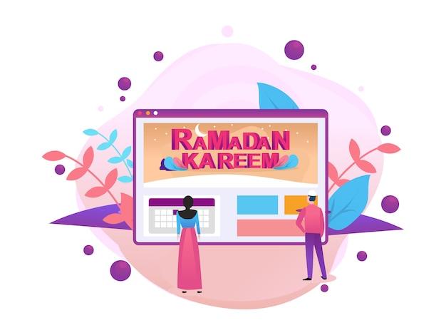 Feliz ramadan mubarak saudação conceito com caráter de pessoas