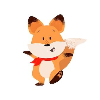 Feliz, raposa, outstretching, mãos, ao andar
