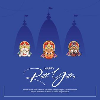 Feliz rath yatra banner design sobre fundo azul.