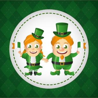 Feliz rótulo irlandês de duende, dia de são patrício