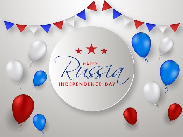 Feliz rússia dia da independência conceito. Vetor Premium