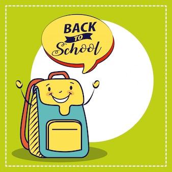Feliz saco kawaii, volta para ilustração de escola