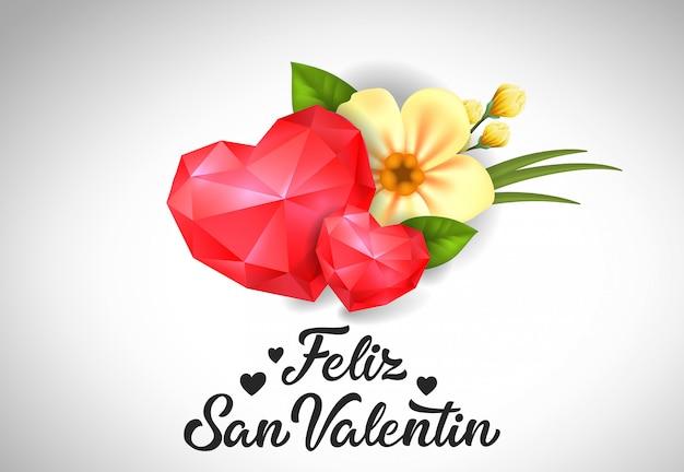 Feliz san valentin lettering com corações
