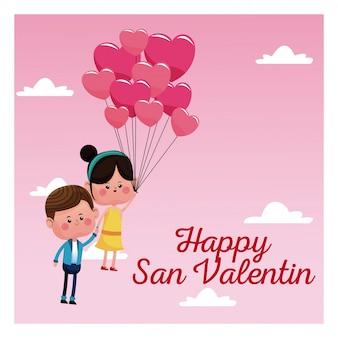 Feliz san valentine cartão casal balões balões céu rosa