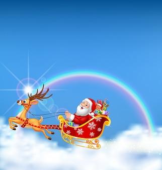 Feliz, santa, em, seu, natal, trenó, sendo, puxado, por, rena