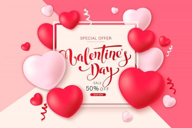 Feliz santo dia dos namorados banner com corações de decoração