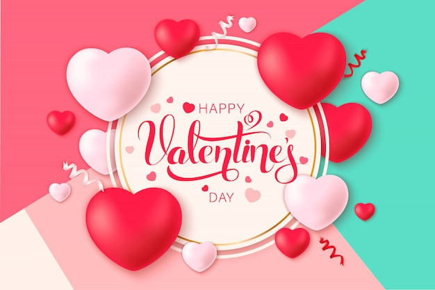 Feliz santo dia dos namorados com corações de decoração
