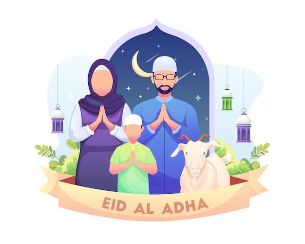 Feliz saudação de eid al adha mubarak com ilustração de uma família muçulmana