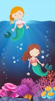Feliz, sereia, em, a, oceânicos
