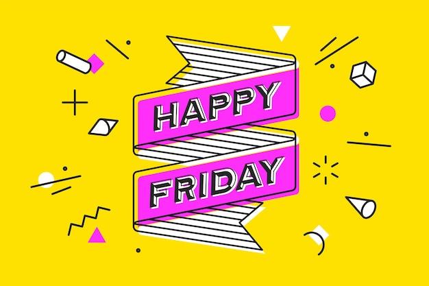 Feliz sexta-feira. banner de fita vintage e desenho em estilo de linha com texto aproveite hoje. desenho desenho geométrico estilo moderno de memphis.
