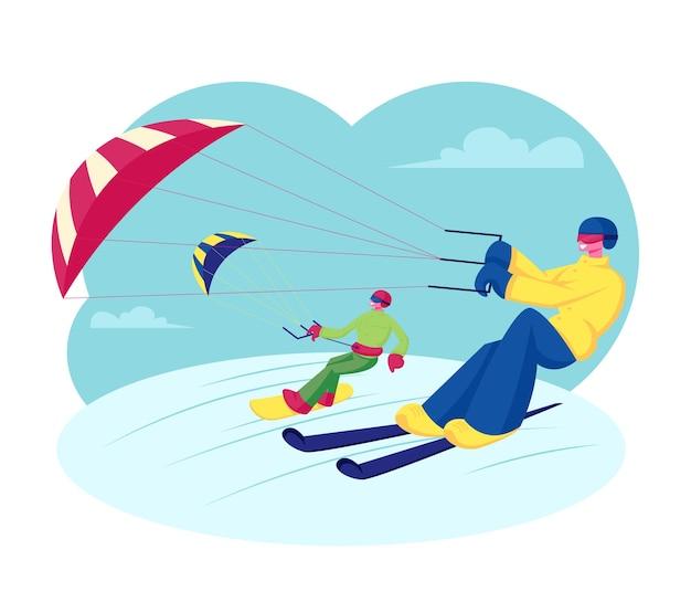 Feliz snowboarder e esquiador com descidas de kite riding por snowdrifts. ilustração plana dos desenhos animados