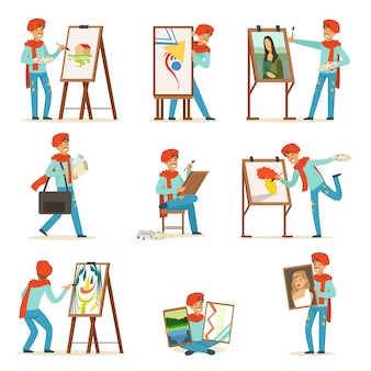 Feliz sorridente artista pintura em tela definida.