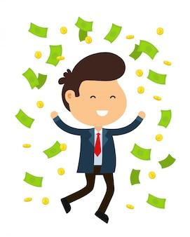 Feliz sorridente engraçado jovem empresário homem salto. chuva de dinheiro e moedas.