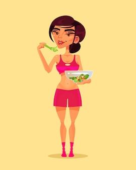 Feliz sorridente esporte fitness mulher personagem comendo salada verde
