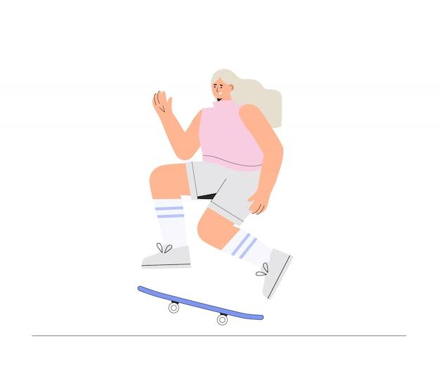 Feliz sorridente jovem garota skatista monta um skate.