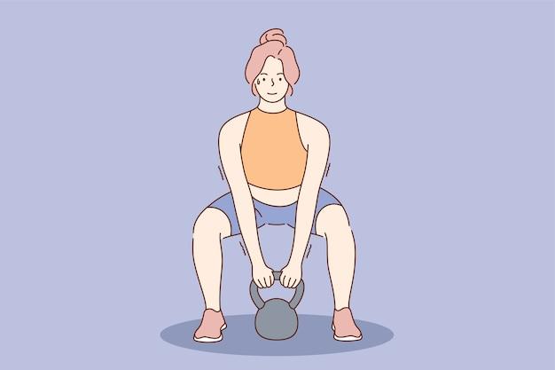 Feliz sorridente jovem mulher forte atleta personagem de desenho animado fazendo exercícios com sino de chaleira. halterofilismo cross fit e estilo de vida ativo e saudável.