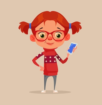 Feliz sorridente menina criança adolescente personagem usando o smartphone. desenho animado