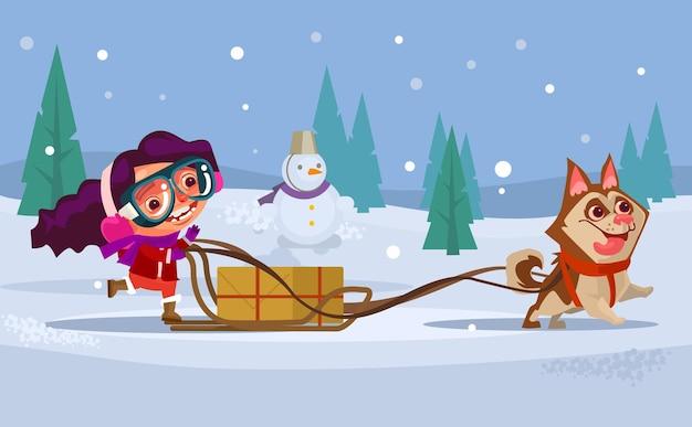 Feliz sorridente menina criança personagem montando cão trenó husky. conceito de férias de inverno.