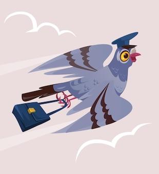 Feliz sorridente pombo pombo pássaro carteiro personagem de correio trazer entregar correspondência por carta