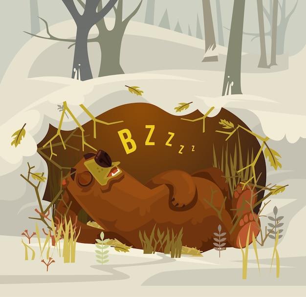 Feliz sorridente urso mascote do personagem dormindo e descansando em sua caverna. ilustração plana dos desenhos animados